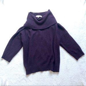 LOFT cowl neck knit sweater purple